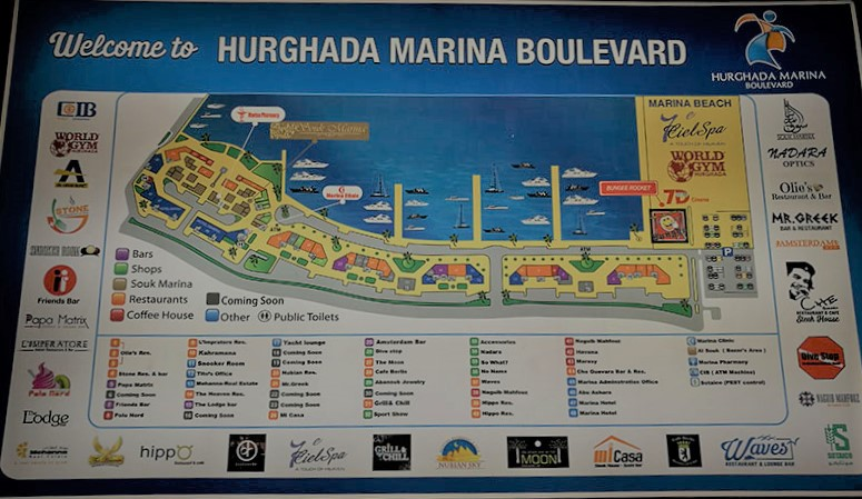 A map of Hurghada Marina boulevard. Best restaurants in Hurghada Marina.
